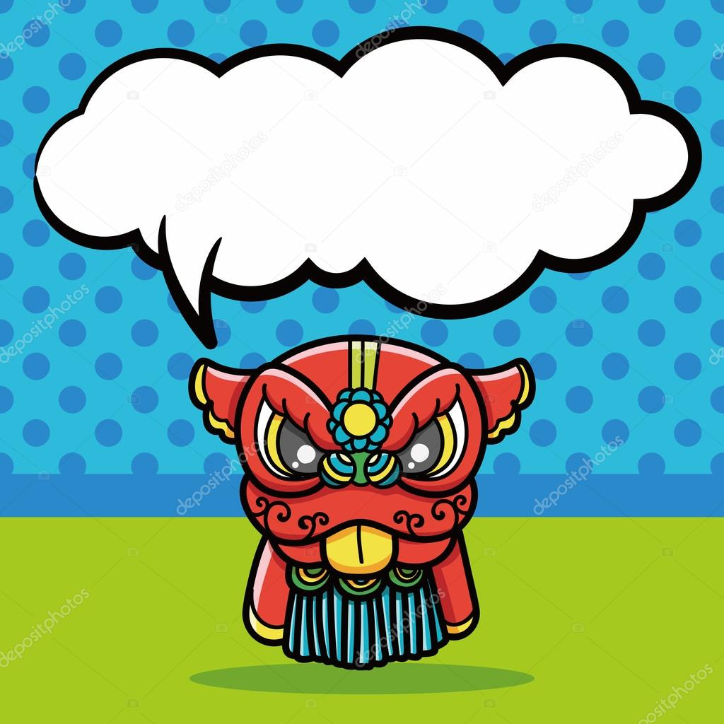chinese new year dragon and lion dancing head doodle speech bubble vector illustration stock