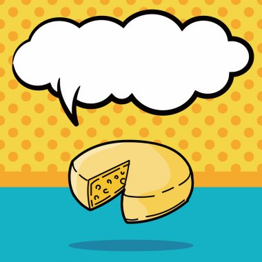 cheese doodle, speech bubble vector illustration