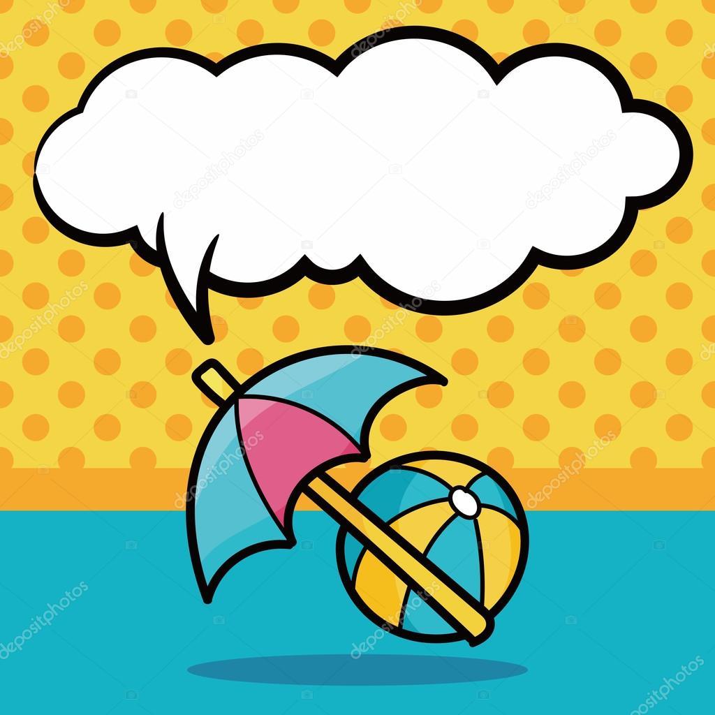 Umbrella And Beach Ball Color Doodle Speech Bubble Vector