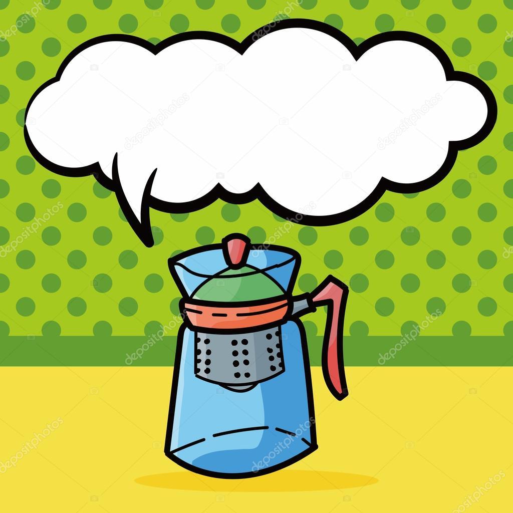 coffee kettle maker color doodle, speech bubble vector illustration ...