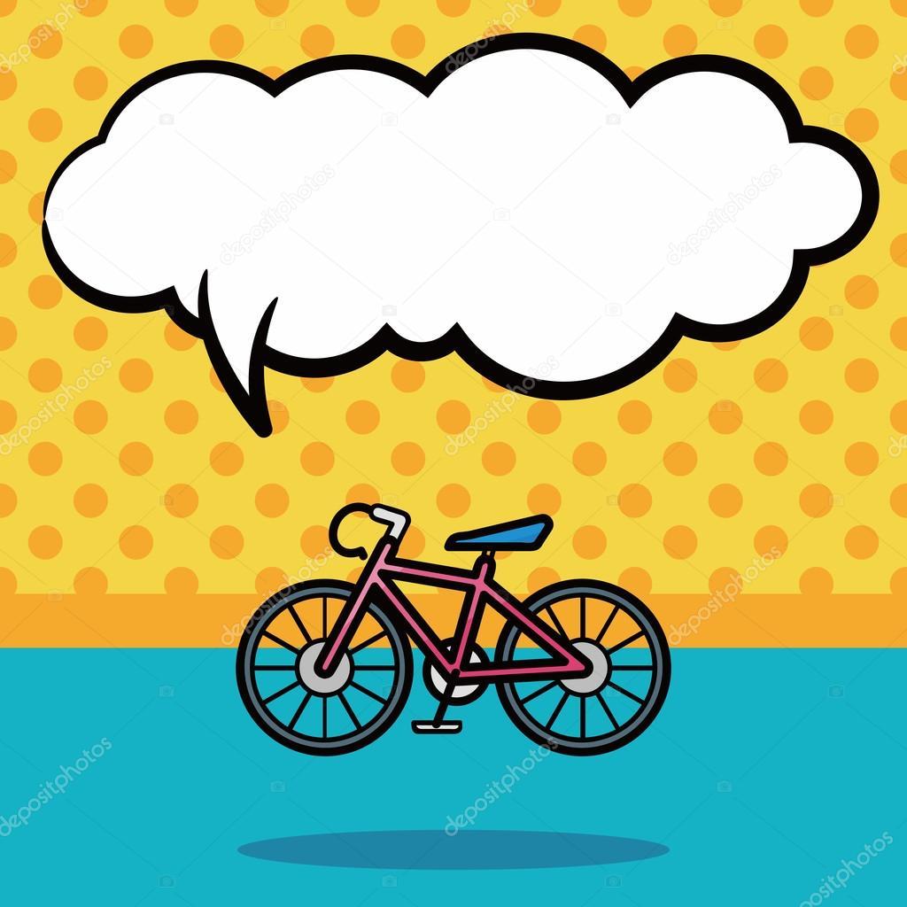 Bisiklet Doodle Konuşma Balonu Vektör çizim Stok Vektör
