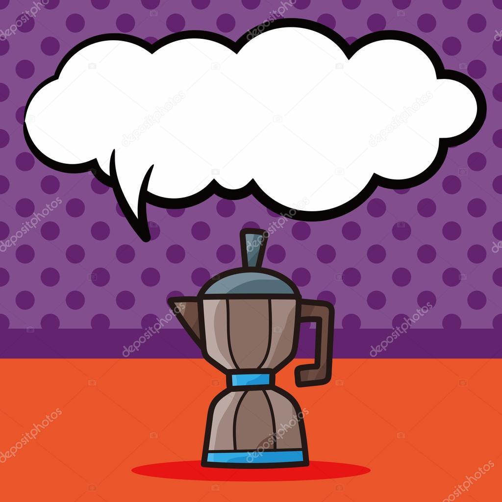 Kaffee Kessel Hersteller Farbe doodle, Rede-Blase-Vektor ...