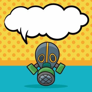 Gas masks color doodle, speech bubble vector illustration