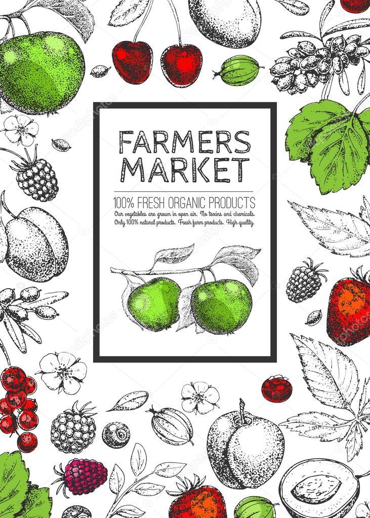 Farmers Market Background Stock Vector C Zabavinaula