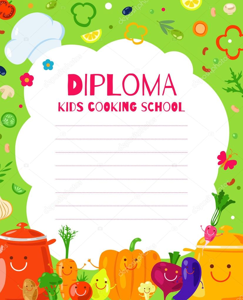 kids diploma for cooking school � stock vector