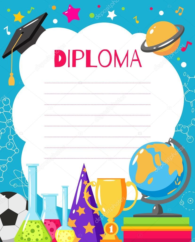 kids diploma for preschool stock vector zabavinaula 124174898