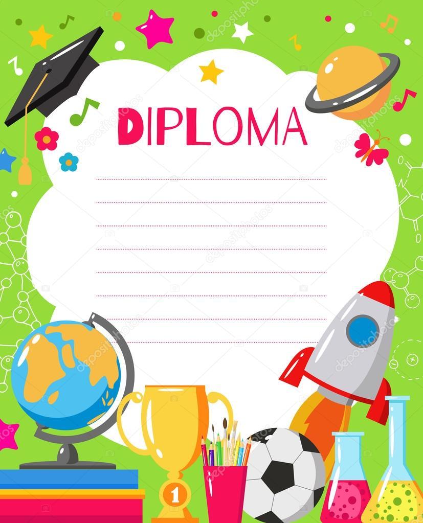 kids diploma for preschool stock vector zabavinaula 124175822