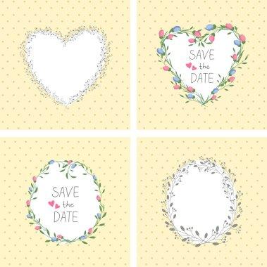 Flowers frame. Heart. Set