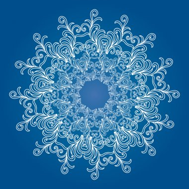 Blue round ornamental lace frame