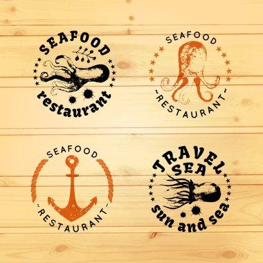 Set of marine logotypes