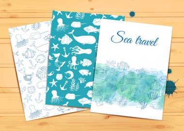 Vector template on wood background. Place for text. Use for banners, flyers, posters, cards, invitations. Sea travel. Kids, travel, swim. Sea animals. Watercolor nautical vector background clip art vector