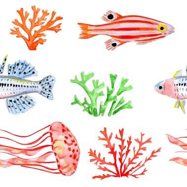 Seamless  pattern with marine fish