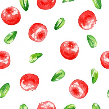 Seamless  pattern with cranberries