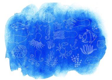 Watercolor sea texture