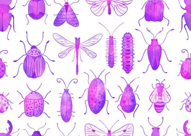Seamless watercolor bugs and butterflies