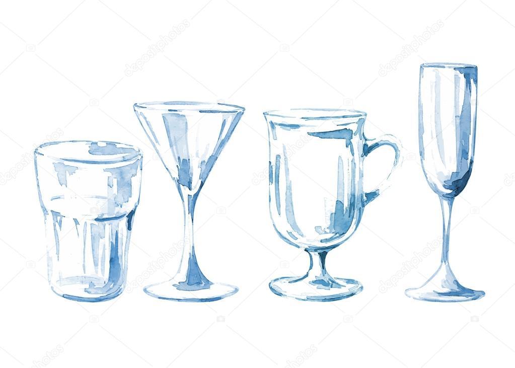 Set of watercolor glasses