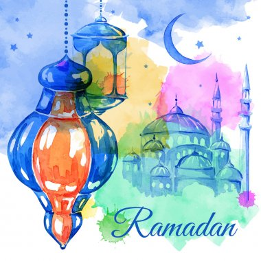 Ramadan Kareem  watercolor illustration