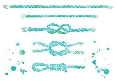 Set of  watercolor sea ropes