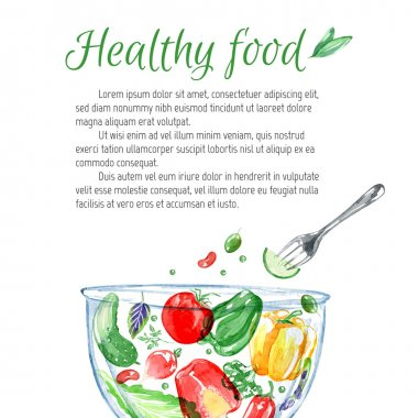 Watercolor background with vegetables