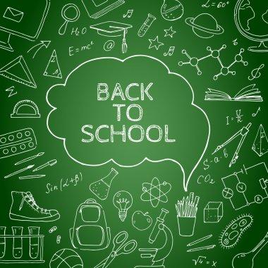 Back to school doodles in chalkboard background.