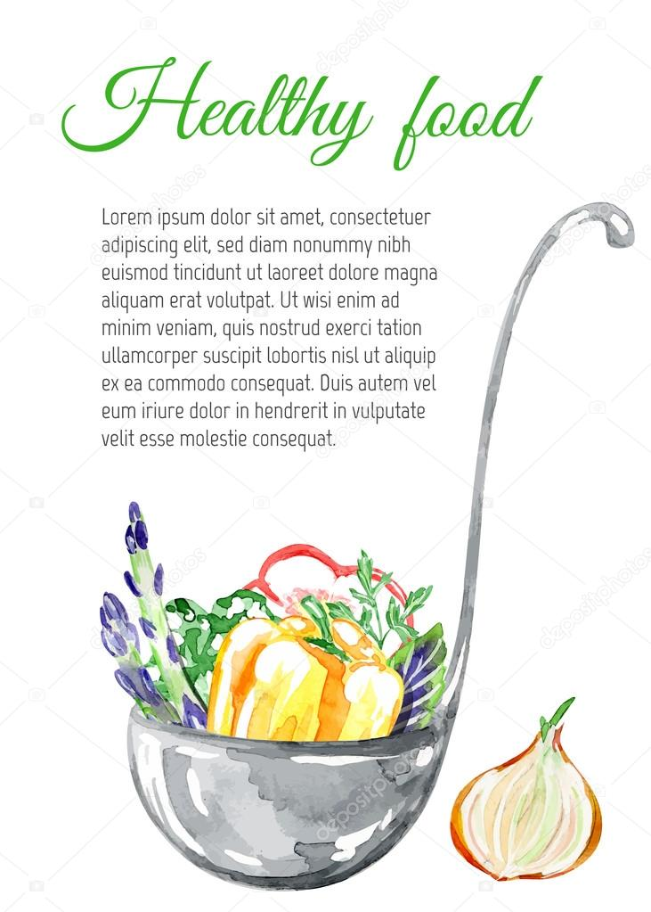 Watercolor Healthy Food Background Stock Vector C Zabavinaula 80160474