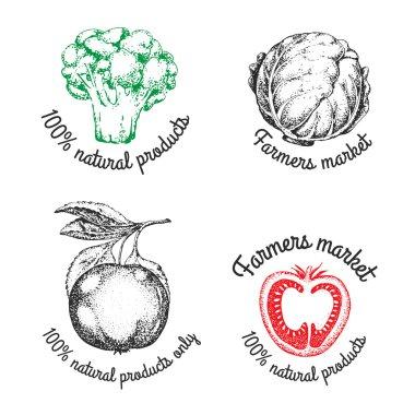 Set of vintage retro farm logo