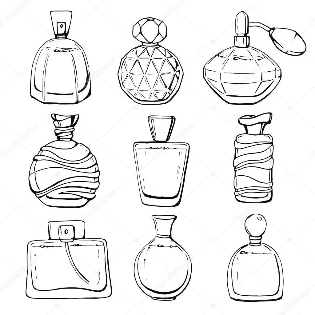 Set of linear hand drawn perfume bottles stock vector - Botellas para perfumes ...