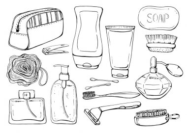 Set of linear hand drawn cosmetic bottles