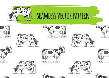 Seamless vintage pattern with cows