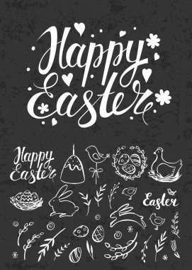 Set of Easter hand drawn elements