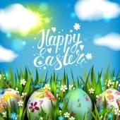 Fotografie Osterkarte mit Eiern und Blumen