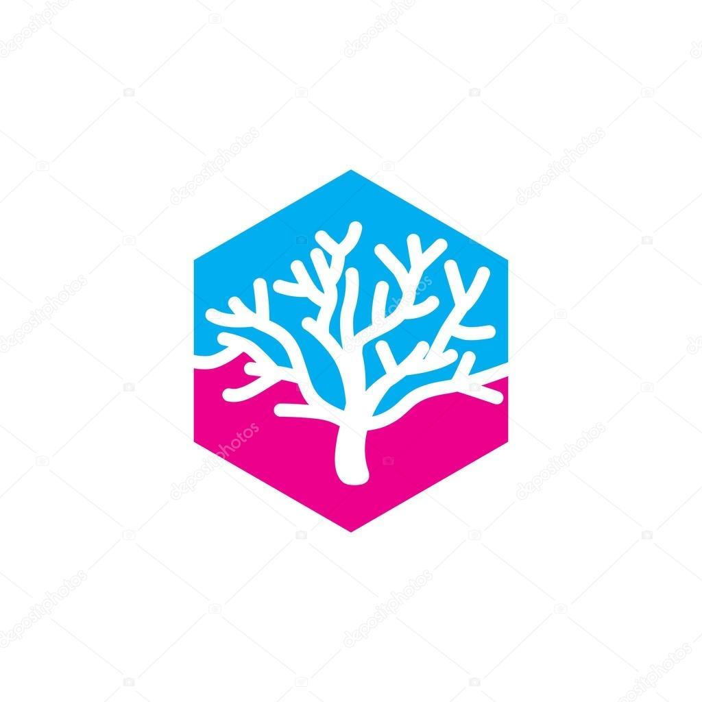coral and star fish logo template ストックベクター mehibi 83088972
