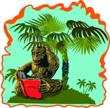The monkey is reading a book under a palm tree