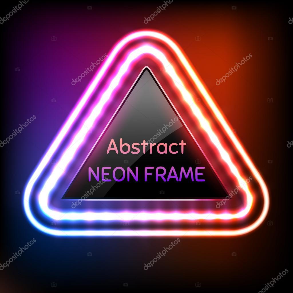 Marco de triángulo de neón brillante con bombillas de luz — Archivo ...