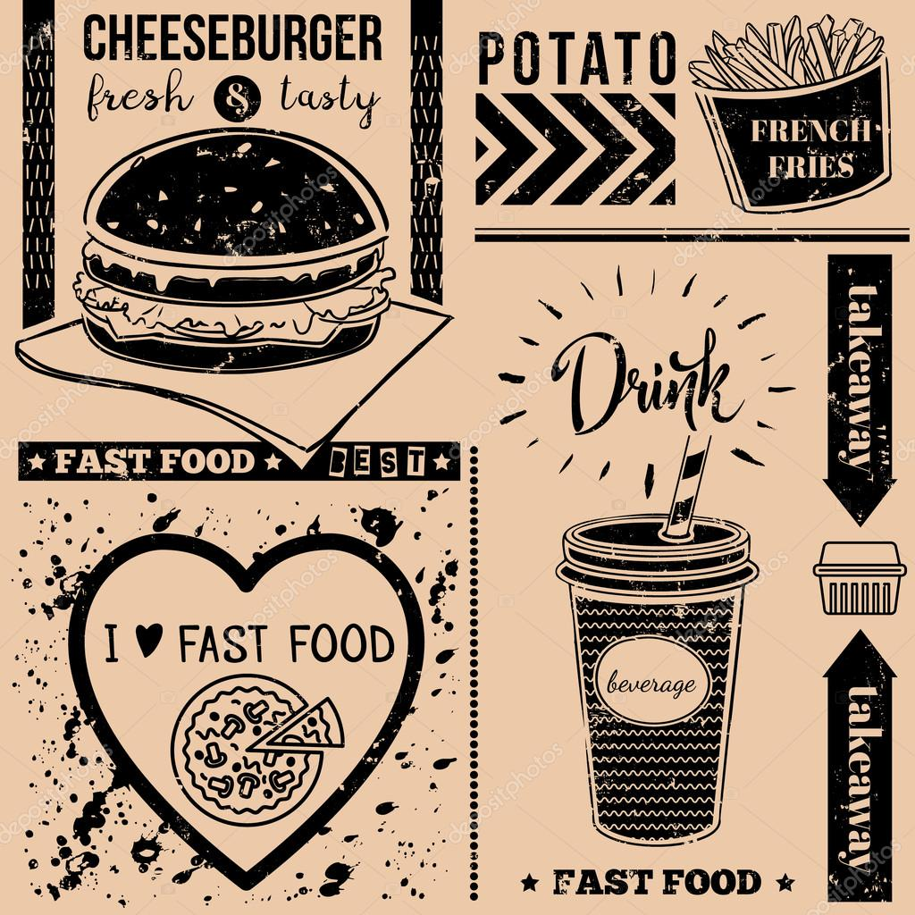 Vector Background With Fast Food Symbols Menu Pattern Stock