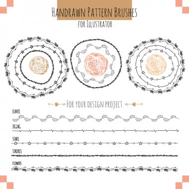 Set with vector pattern hand drawn brushes