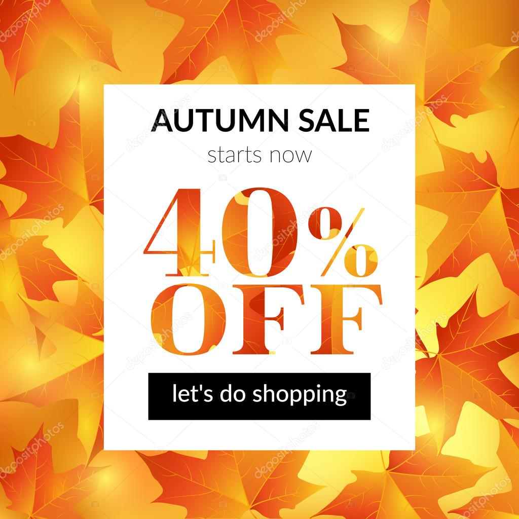 Autumn sale background with maple leaves