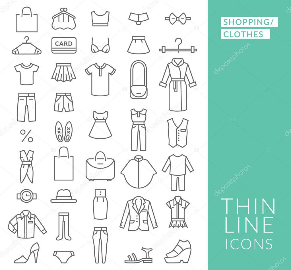 Set with thin line  icons on theme of shopping and clothes