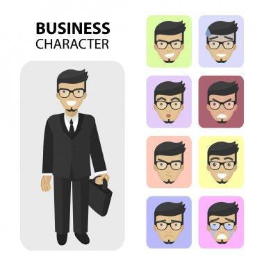 Set business different emotions faces, flat icons.