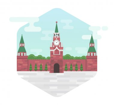 Moscow kremlin, a symbol of Russia's capital, vector flat illustration