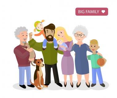 Big Happy Family. Parents with Children, vector