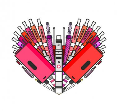Illustration of vaporizer and vaping accessories a heart form, Love vape, flat vector art