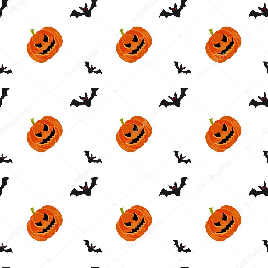 Símbolos de Halloween calabazas y murciélagos de patrones sin ...