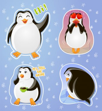 Set emotions stickers penguin: greeting, in love, skeptical, resentful