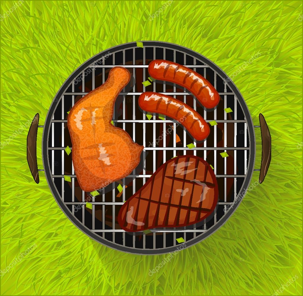 Summer BBQ with chicken legs, sausage and beef steak grilling