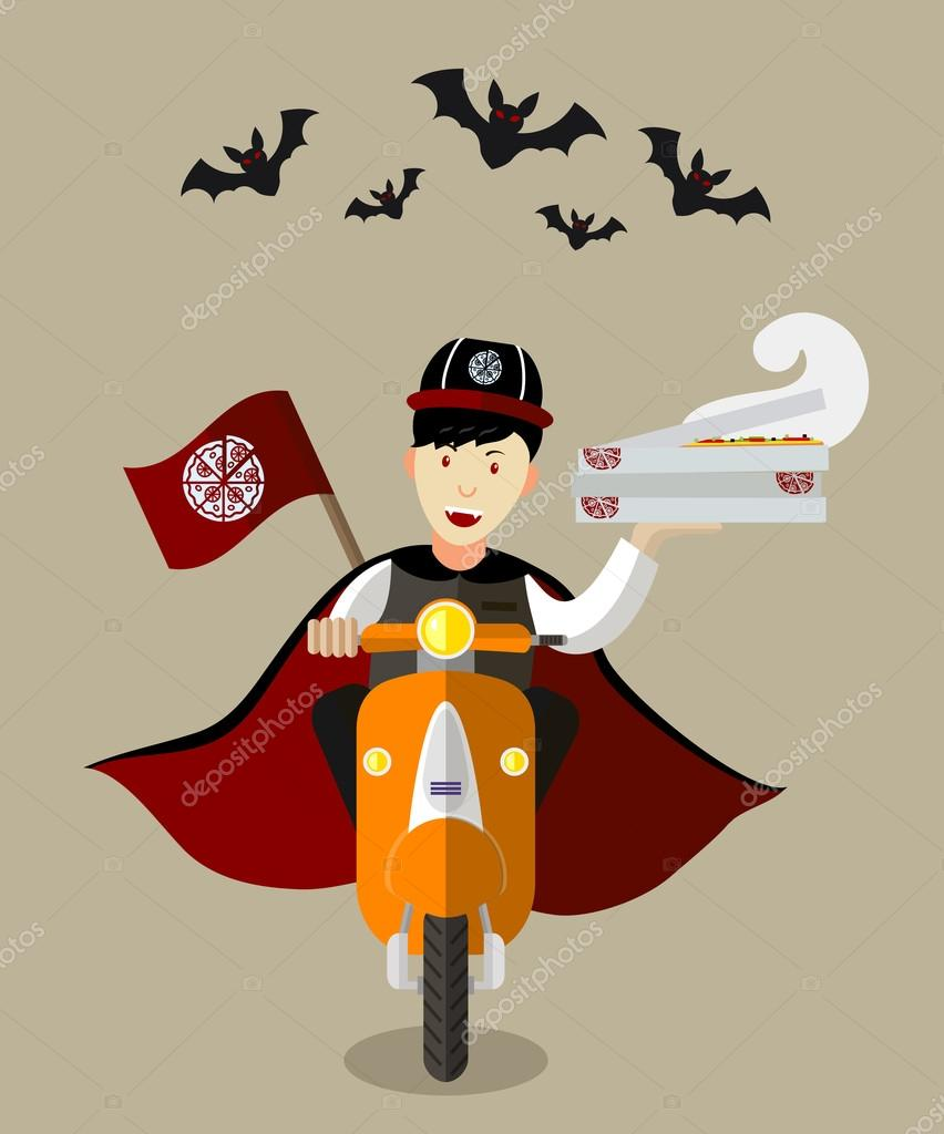 Halloween vampire food-deliveryboy on scooter with boxes of pizza