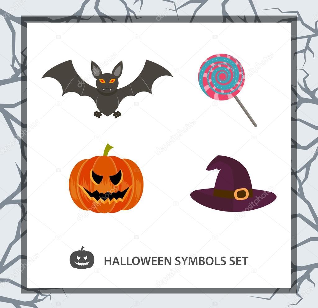 Halloween symbols set: bat, pumpkin, candy, witch hat. Background ...