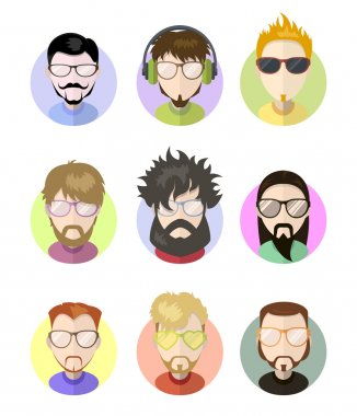 Set avatars profile flat icons, different characters. Trendy beards, glasses.