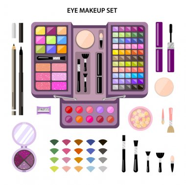Set woman cosmetics, flat, eye makeup. Beauty store