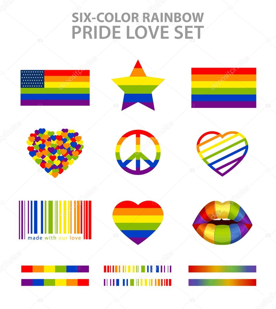 Six color rainbow lgbt symbols flags hearts peace star lips six color rainbow lgbt symbols set pride freedom flags hearts peace star and lips vector by flyintospace biocorpaavc Images